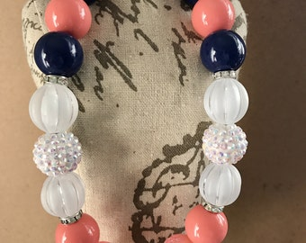 Pink Coral and Navy Chunky Jewelry Bubblegum Necklace girls jewelry flower girl Birthday photoshoots
