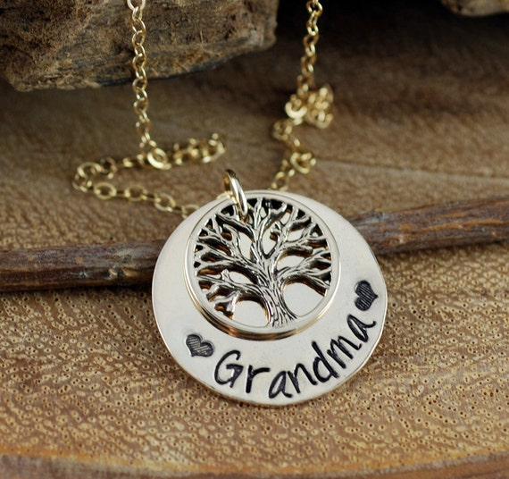 Family Tree Grandma Necklace, Hand Stamped Mother's Necklace, Grandmother Jewelry, Birthstone Family Tree Necklace, Tree of Life Jewelry