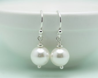 Shell Pearl earrings, 8mm, gift for her under 20 dollars, by art4ear, round white pearl drop on French hook earings, free shipping in Canada