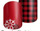 Rustic Christmas in red - Custom Jamberry Nail Wraps - Holiday 2016 Collection