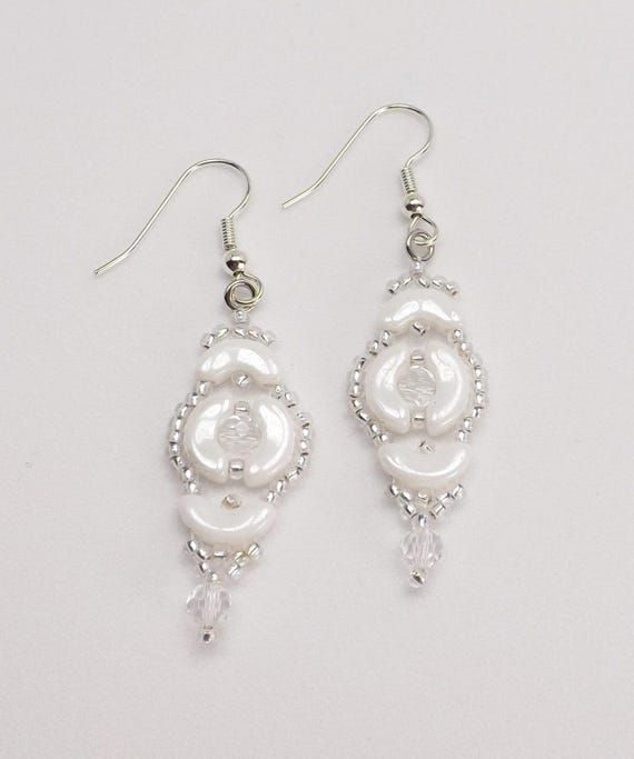 Opaque White and Silver Beaded Earrings SKU: ER1026