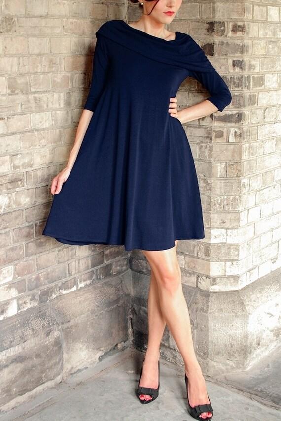 Cécile Flowing Capelet Dress - navy blue dress - cowl dress - tent dress - evening dress -  tunic dress  -  petite dress - swing dress