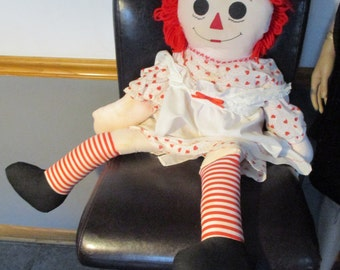 "35"" Raggedy Ann Doll Hand-Made Hatfield's Craft Dressed in Hearts with I Love You Heart Chest"