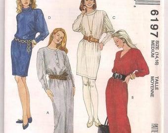 1992 Knit Dress Pattern McCalls 6197 Pullover Dress In Two Lengths Long Dolman Sleeves Neckline Variations Vintage Pattern Size 14 16
