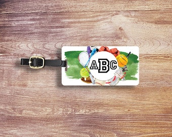 Luggage Tag Sports Watercolor Monogram Custom on Front Personalized Address or Info on back Single Tag