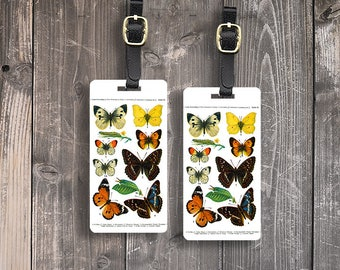 Luggage Tag Set Vintage Butterfly Moth Identificaiton Metal Luggage Tag Set With Printed Custom Info On Back, 2 Tags Choice of Straps