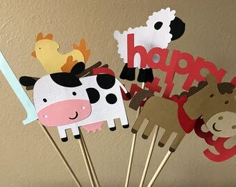 Barn Animal Centerpiece Sticks, Farm Party Centerpiece, Barnyard Birthday Party, Farm Animal Centerpiece Sticks, Farm 1st Birthday, Set of 6
