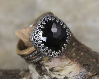 Black Spinel Statement Ring with Sterling Silver and Yellow Gold - Regents Collection