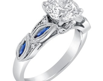 Forever Brilliant Round Cut Moissanite Ring with Sapphire & Diamond Accents R244M