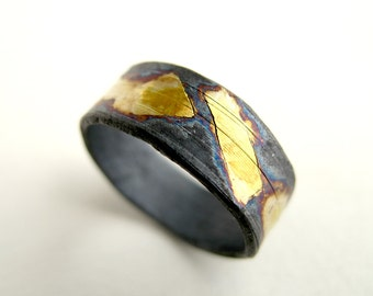 Gold and Oxidized Silver Ring Texture Silver with 24kt Gold Ring Us Size 8 Black Silver Jewelry