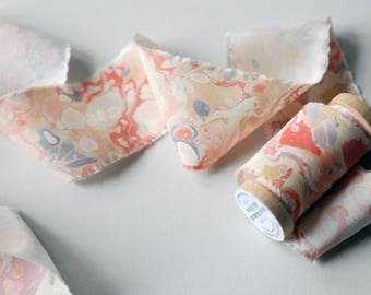 Marbled Silk Ribbon in Speckled Pink