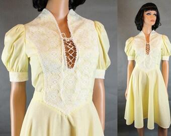 Prairie Girl Dress XS Vintage 70s Yellow White Swiss Dot Corset Top Flared Skirt Free US Shipping