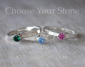 Birthstone Stacking Ring, Sterling Silver Birthstone Ring - Choose a Birthstone Ring - Moms Ring - Peridot, CZ, Alexandrite,Tourmaline ++