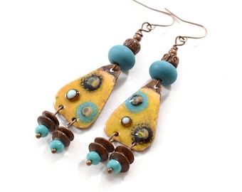 Yellow and Turquoise Boho Chic Earrings, Antique Copper Earrings, Yellow Earrings, Artisan Earrings, Boho Earrings, OOAK,Big Earrings, AE219