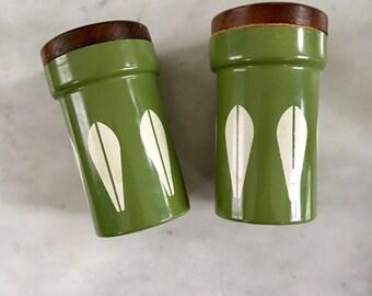 Vintage Cathrineholm Lotus Ware Salt Pepper Shaker Greta Prytz Kittelsen Norway Free Shipping