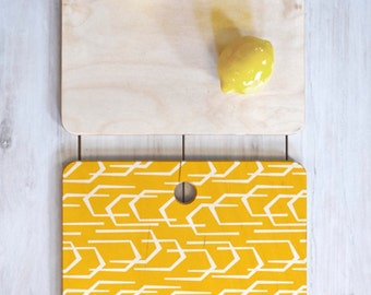 Modern Geometric Cutting Board // Birch Wood // Serving Board // 3 Sizes // Round, Square, Rectangular // Going Places Design // Colorful