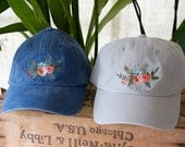 The Eleanor Baseball Hat * Designer Hat * Floral Flower Bouquet Hat * Pigment Dyed * Chrome Gray