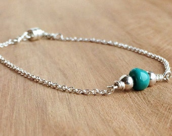 Dainty Turquoise Bracelet, in Silver or Gold, Bead Bar Bracelet for Women, Magnetic Clasp