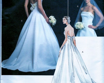 UNCUT * Vogue Bridal Pattern V2803 - GLAMOROUS Strapless Bridal Wedding Gown, Evening  Dress //  Sizes 6, 8, 10