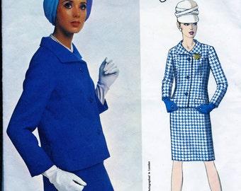 Jo Mattli of London  Designer *Vintage Vogue Couturier Pattern 1714 * Suit. Semi-fitted jacket & Slim Skirt * Size 14, bust 34 * FF