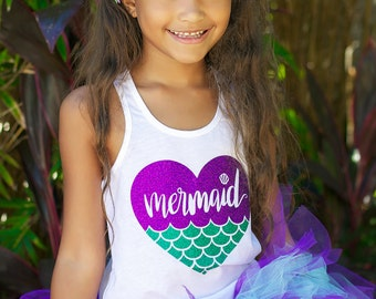 Mermaid Shirt, Girls Sparkle Shirt, Girls Glitter Shirt, Mermaid at Heart, Mermaid Birthday, Mermaid Party