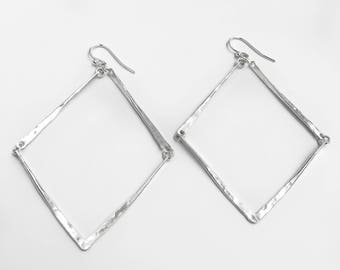 Big Geometric Earrings - Big Hammered Silver Earrings - Long Sterling Dangle Earrings - Silver Bar Statement Earrings - Silver Jewelry