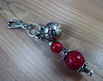 Purse Zipper Charm Beaded Red Soccer Ball Charm Work Lanyard Handbag Identification tag key ring