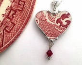 Broken china jewelry - heart shaped necklace pendant - antique red pink willow - broken china jewelry with crystal
