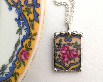 Broken china jewelry. antique china pendant necklace pink rose porcelain made from recycled china