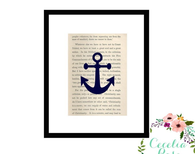 Anchor Upcycled Book Page Box Framed Art Print
