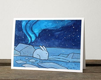 Snowshoe Hare and Northern Lights Card - illustrated Winter stationery