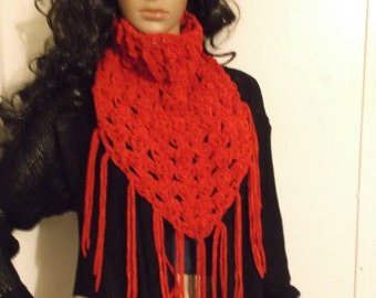 Thick and Chunky Crochet Kerchief Scarf, Cowl, Neckwarmer, Winter accessory, Triangle Cowl, Triangle Neck Warmer, in Burnt Orange