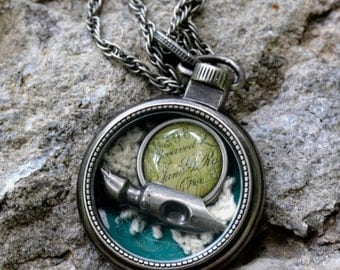 Short Story, small pocket watch with pen nib, lace and accent