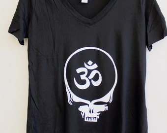 Large Black VNeck OM Stealie Tee