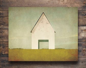 Modern White Barn Farmhouse Illustration by Ryan Fowler - Gallery Wrapped Stretched Canvas Wall Art  Signed