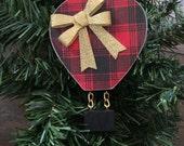 Wood Hot Air Balloon Christmas Tree Ornament Red/Black Buffalo Plaid