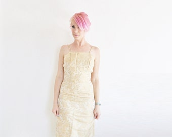 mod gold brocade cocktail dress . pale golden floral pattern . party wear .small .sale