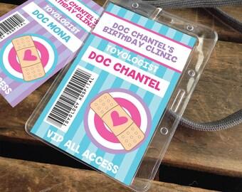 Doc Badges - Doc McStuffins Party, Doc Passes, Doc Birthday, Party Favor, Doctor/Nurse Party | Editable DIY Instant Download PDF Printable