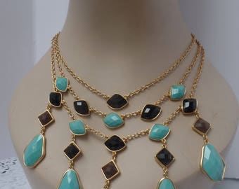 Vintage Joan Rivers Turquoise and Black Bid Necklace