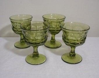 Vintage Fostoria Argus Green Champagne Tall Sherbets - Set of 4