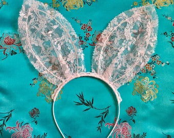 White lace bunny ears headband.