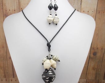 African Clay Bead Necklace and Earring Set - with Rwandan Paper Beads - Black Leather Cord with Black and White Beads