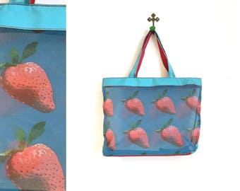 Vintage 1990s Mesh Blue and Red Strawberry Vinyl Beach Tote