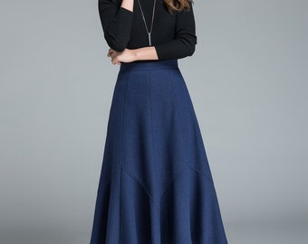 romantic skirt , blue wool skirt, maxi skirt, designer's skirt, high waisted skirt, elegant skirt, womens skirts, fashion clothing 1644