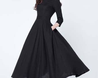 black dress, linen dress, maxi dress, pleated dress, party dress, evening dress, round collar, 3/4 sleeves dress, ladies dresses  1728