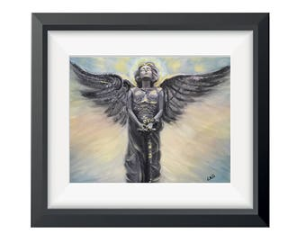 Angel Art, Angel Print, Religious Art, Mini Art Print, Archangel Guardian Angel, Healing Angel, Spiritual Art, Reiki Painting, Spirit Guide