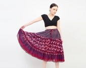 Vintage Boho Skirt 70s Midi Floral Cotton Gauze Ethnic India 1970s Bohemian Hippie Festival Navy Burgundy Medium Large M L