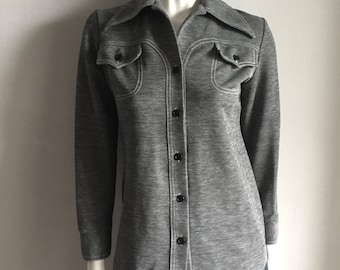 Vintage Women's 70's Polyester, Leisure Jacket, Gray, White, Long Sleeve (S)