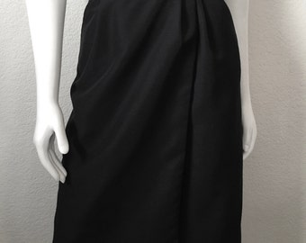 Vintage Women's 80's Wrap Skirt, Black, A-Line, Polyester, Knee Length by Picato (M)