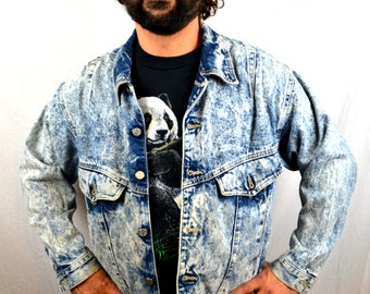 Vintage 80s Acid Wash Hip Hop RAD Denim Jacket - Code Bleu